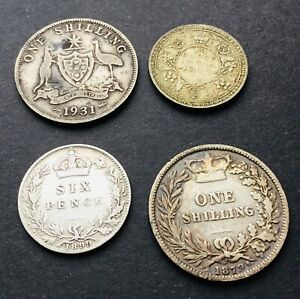 Silver Victoria 1879 Shilling & 1899 Sixpence & Australia India coins