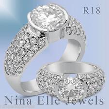 8MM FOREVER ONE SEMI BEZEL PAVE MOISSANITE & DIAMONDS ENGAGEMENT RING