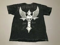Men's AFFLICTION Distressed Style Cross Skull Wings T-Shirt Adult Size L Black