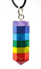 PENDANT - BANDED CHAKRA BALANCER Crystal Wand w/Description- Healing Reiki Stone