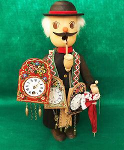 "German Erzgebirge Traditional Clock Peddler  15"" Tall - Free Shipping"