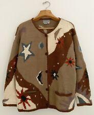 Vtg NOMADIC TRADERS Women Cardigan Sweater L Brown Multi Sun Moon Stars