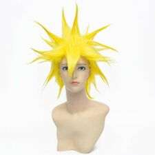 cosplay anime fancy dress wigs short spike yellow costume full hair wig + cap w1