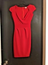 All American Comfort Red Knee Lenght Vneck Dress size XS