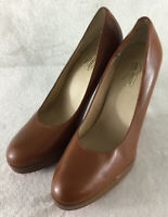 "OH...DEER! Women's Marilyn Brown Leather Classic Pumps Shoes 4.5"" Heels Size 9 M"