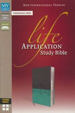 NIV Life Application Study Bible Imitation Leather Gray/Blue Thumb Indexed NEW!!