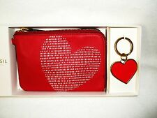 NWT Fossil Brenna Wristlet and Key Fob or Purse Charm Red/White Heart Gift Box