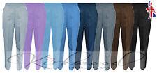 Ladies Half Elasticated Black Trousers Pockets Womens Pants Plus Size 20 - 28