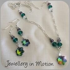 Snowflake Crystal ab Necklace & Earring Set ~ Pierced or Clip-On Earrings