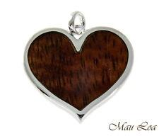 Koa Wood Hawaiian Scroll Heart Rhodium Silver Plated Brass Reversible Pendant