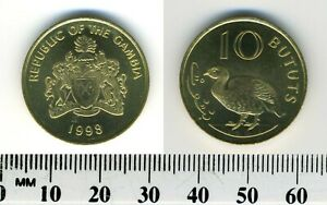 Gambia 1998 - 10 Bututs Brass Plated Steel Coin - Arms, Double-spurred francolin