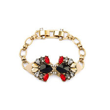 Bracelet Doré Floral Art Deco Triangle Rouge Noir Retro Original CT7