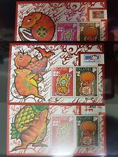 SINGAPORE 1996 LUNAR YEAR OF RAT 3 Miniatures Mint Clean
