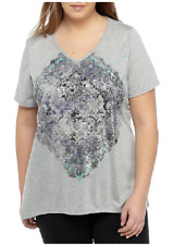 KIM ROGERS S/S V Neck  Soft Jersey Metallic  Graphic Tee Top 2X Heather Multi