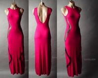Sale Bright Pink Black Sheer Mesh Open Back Backless Long Maxi 22 mv Dress S M L