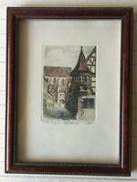 "Rothenburg od Tauber Colored Etching Print, Signed Artist, Framed, 3 1/2"" x 5"""