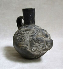 Pre-Columbian CHAVIN BLACKWARE SPOUTED FIGURAL VESSEL, circa 700 BC - 200 BC