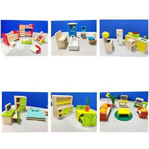 J&J Wooden Furniture Dolls House 6 Set Room Family People Miniature ToysKidGifts