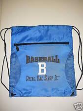 "Baseball Drawstring Backpack, ""Drink, Eat, Sleep It."""
