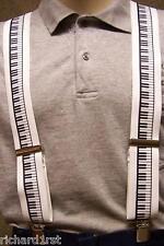 "Suspenders 2""x48"" FULLY Elastic Piano Keyboard NEW White"