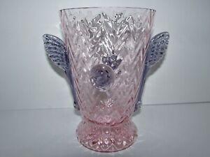 Antique Czech Art Deco Pink Vase with Purple Applied Wings & Prunts 849