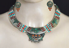 Sterling Silver Necklace set Tibetan Jewelry Ethnic Turquoise Coral Set4