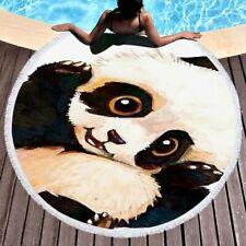 Panda Pattern Microfiber Beach Towel Tassel Shawl Blanket Yoga Mat 150cm DZ1138