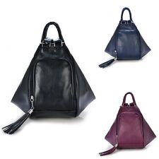 Women's Leather Shoulder Bag Backpack Knapsack Tassel Handbag Purse Messenger