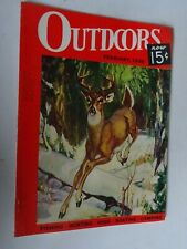 1938 OUTDOORS magazine hunting fishing boating February Whitetail Buck scene