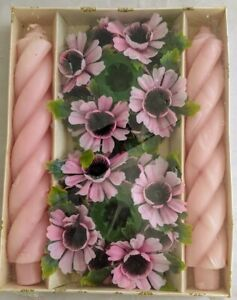 """Vintage New Old Stock Emkay Twist Chunky Pink Taper Candles 9x2"""" w Floral Rings"""