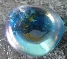 BEAUTIFUL AQUA AURA QUARTZ  (10.4 grams / 22 mm) TUMBLESTONE (1) 'HEALING'