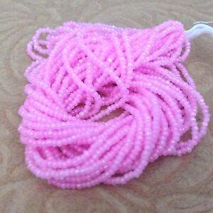 13/0 Pink Ceylon Opague Czech Glass Seed Bead Charlotte Preciosa True Cut, #55