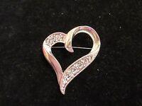 Silver Tone Rhinestone Crystal Heart Pin Brooch Statement Love Shiny Fashion