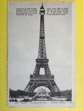 cp Gravure Papier Vergé ANCIEN PARIS EIFFEL TOWER FRENCH Built from 1887 to 1889