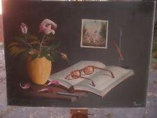 natura morta  bell'olio su tela di Pandolfi misure tela 72,5x53,5 anni 50 bella.