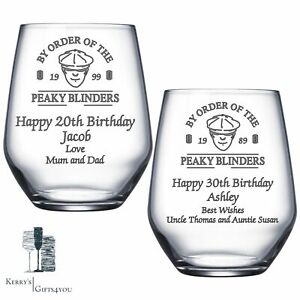 Peaky Blinders Engraved Glass - Christmas Birthday Gifts 18th 21st 30th Gift