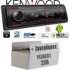 Kenwood Autoradio für Peugeot 206 MP3 USB iPhone Android Einbauzubehör Einbauset