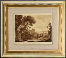 RICHARD EARLOM after CLAUDE LORRAIN - Framed Antique Landscape Etching No. 77