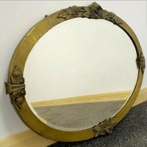 Arts & Crafts Brass and Copper Rose Framed Mirror