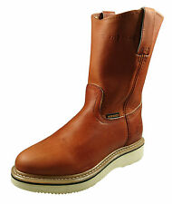 Women's Genuine Leather Work Boots Pull on Honey and Black_Made in Mexico_