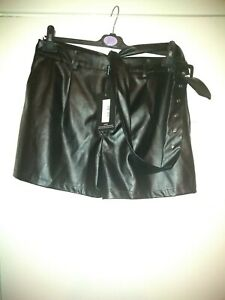 PLT Black Faux Leather Shorts