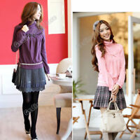 Winter Fall Women Long Sleeve Turtleneck Solid Blouse T-Shirt Pullover Tops New