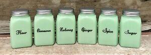 Jadeite Set of (6) Art Deco Green Milk Glass Vintage-Style Shakers