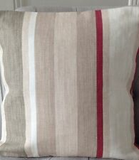 "12"" cushion cover Laura Ashley Awning stripe Lichen/raspberry/Austen Natural"