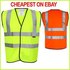 Hi Viz Vest High Vis Safety | YELLOW ORANGE | EN471 Waistcoat Visibility Jacket