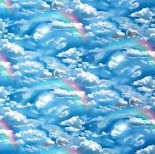 Clouds and Rainbows Elizabeth Studio 460 100% Cotton Fabric FQ 1/2 Full Metre