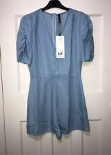 Zara Light Blue Tencel Denim Short Jumpsuit Playsuit Size M