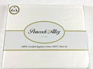 🚩 500TC Ivory QUEEN,KING 4Pc Sheet Set EGYPTIAN Cotton PEACOCK ALLEY