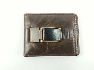 Fossil Brown Leather Card Holder Wallet Money Clip