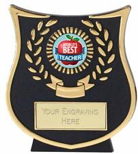 Emblems-Gifts Curve Gold Worlds Best Teacher Plaque Trophy With Free Engraving